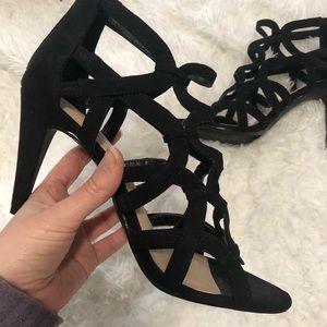 Kelly & Katie Black Strappy Open Toe Heels 8